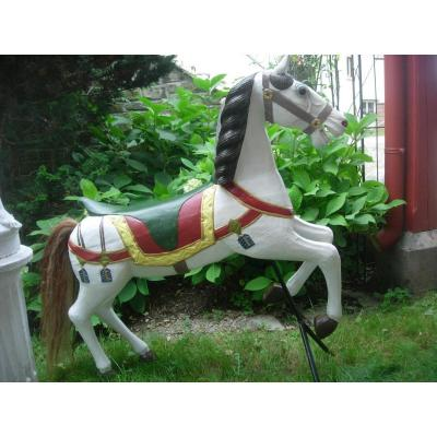 Authentique Cheval De Manège En Bois Polychrome