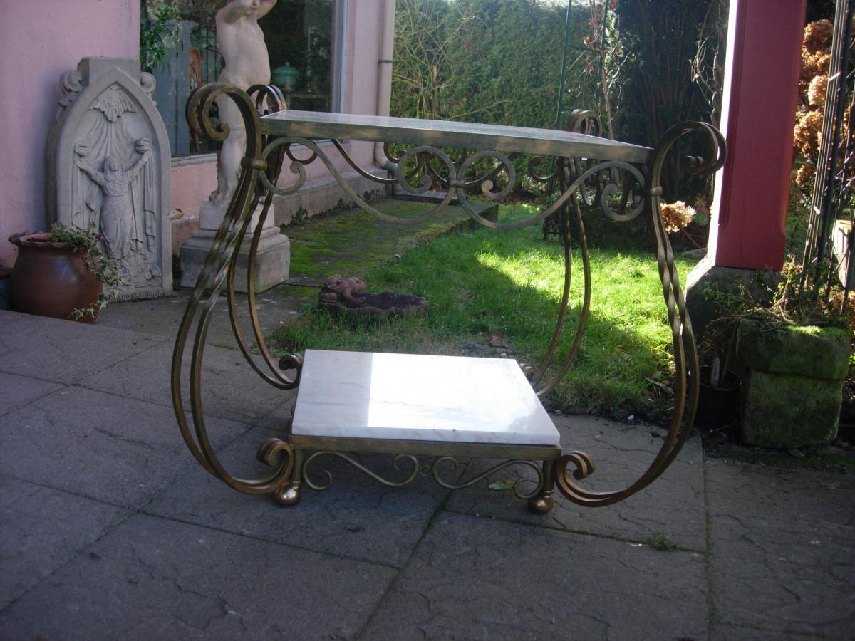 Table Fer Forgé Et Marbre Attribuée à Gilbert Poillerat