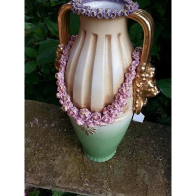 Grand Vase En Biscuit Polychrome  Austria