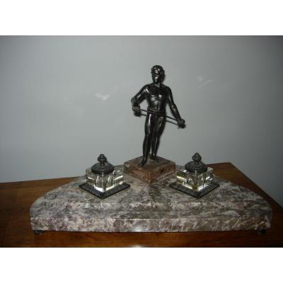 Encrier personnage bronze et marbre