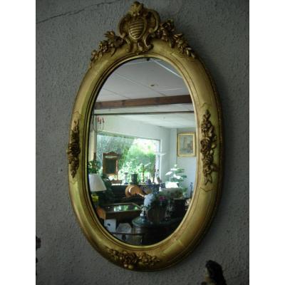 Miroir Ovale Doré 19ème