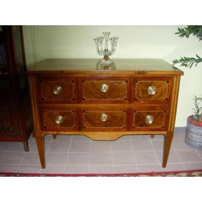 Commode Sauteuse Louis XVI En Noyer Marquetée