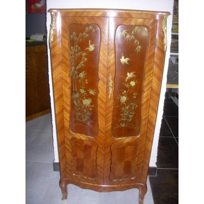 Small Wardrobe Louis XV Style Window - Early 20th - Removable Lacquers
