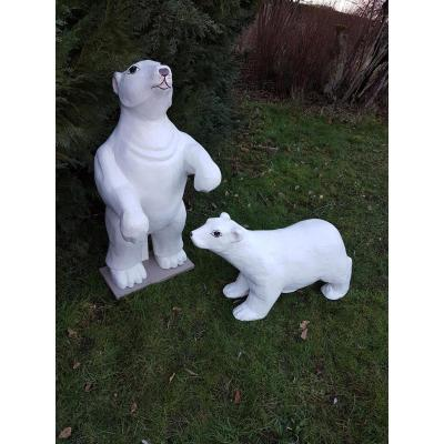 Set Of Two White Bears Emblems Of A Confectionery From Around 1930
