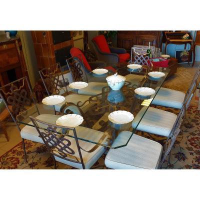Ensemble De Salle à Manger Une Table Verre Et Métal Et 8 Sièges Assortis