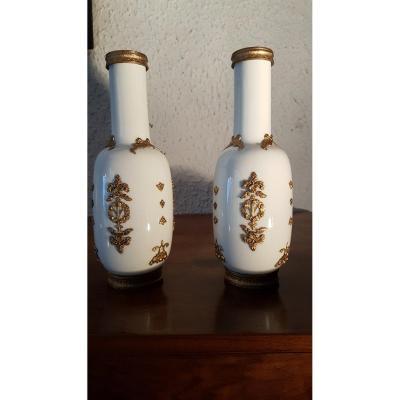 Paire De Vases En Porcelaine Décor Laiton Style Louis XVI