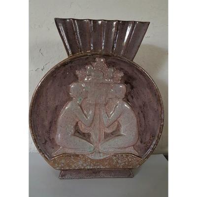 Vase Céramique Art Déco    De Pierre LENOIR   (1879  -  1951)