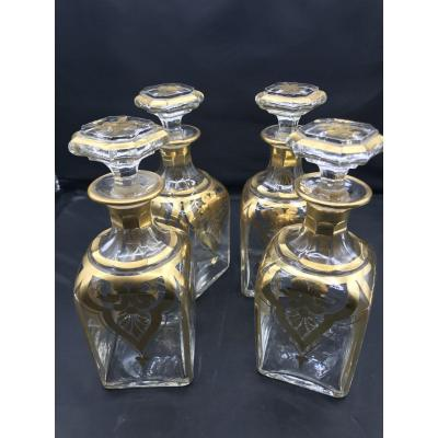 4 Golden Carafes - Baccarat   -   Very Good Condition