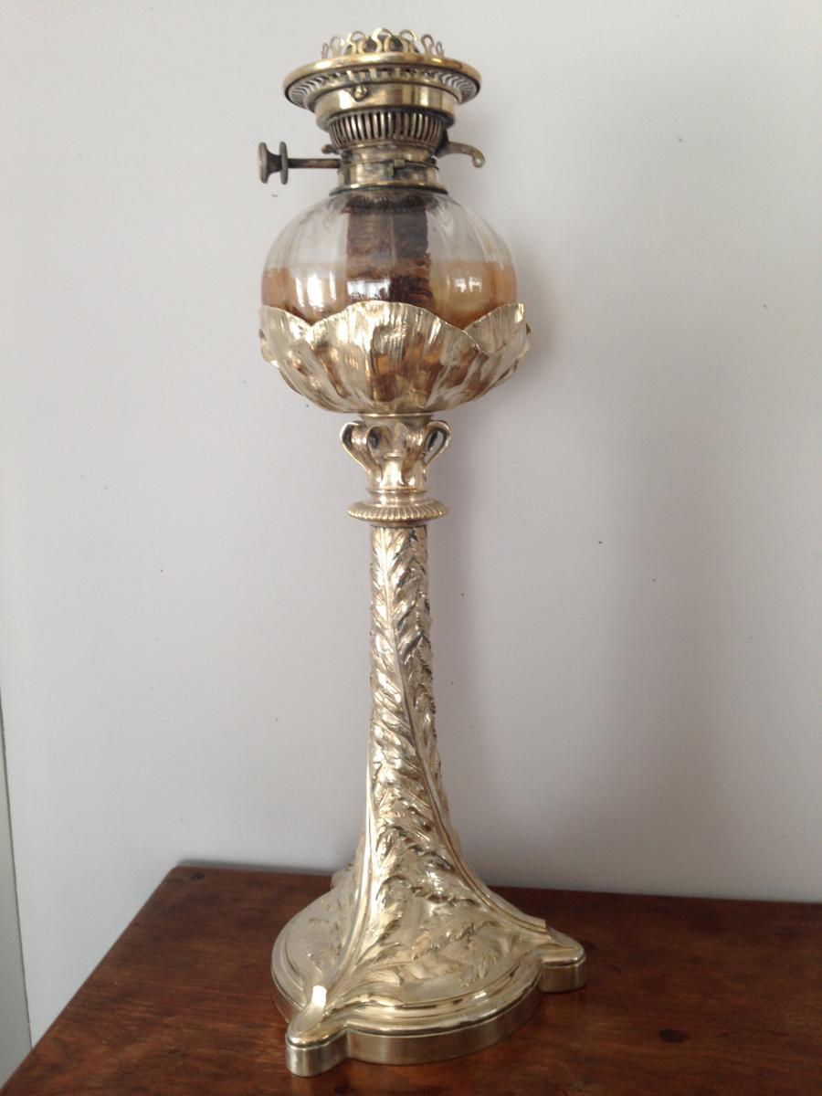 Lampe à Pétrole Art Nouveau Christofle Bronze Argenté H 60cm