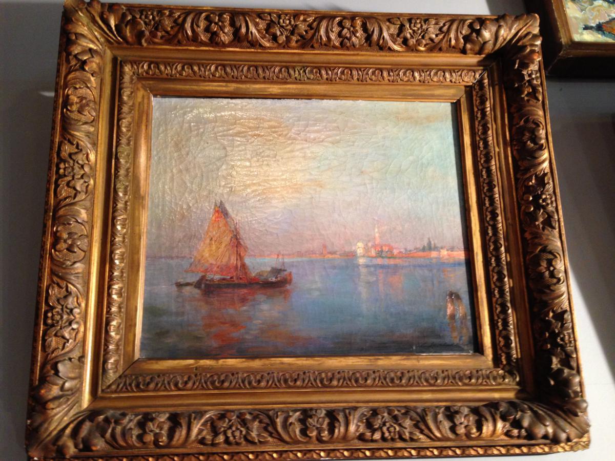 """Huile Sur Toile """"vue De Venise"""" Signé Duluard"""