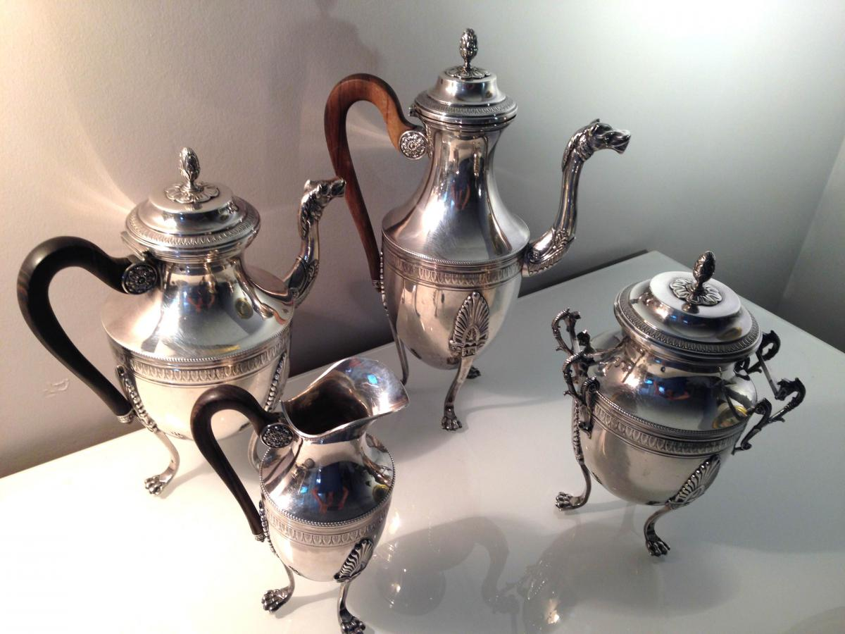 Tea-coffee Service 4pièces Sterling Silver Goldsmith Tirbour