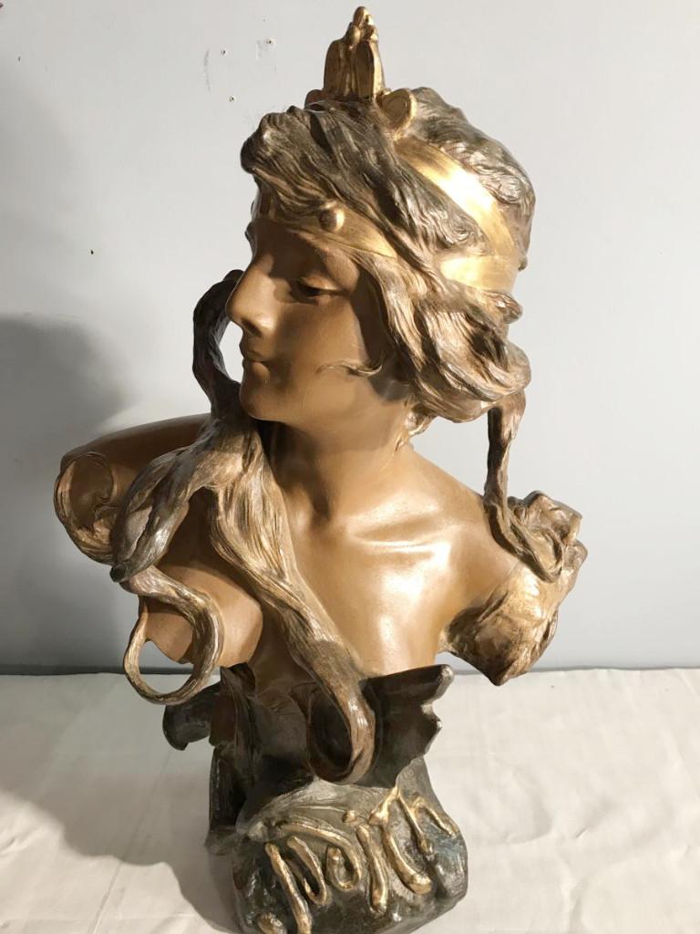 Très Grand Buste Art Nouveau (70cm) En Métal Polychrome