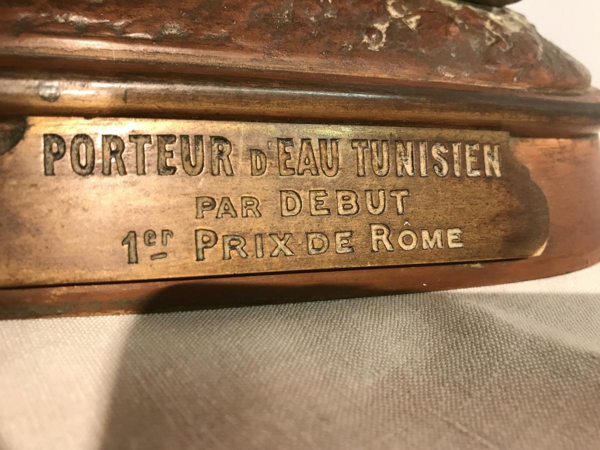 """Bronze Polychrome Par Debut """"le Porteur d'Eau Tunisien"""""""