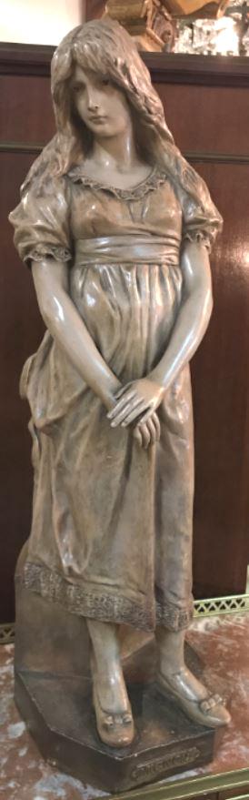 """Goldscheider : Statue Terre Cuite Jeune Fille """"mignon"""" Signé J.mercadier"""