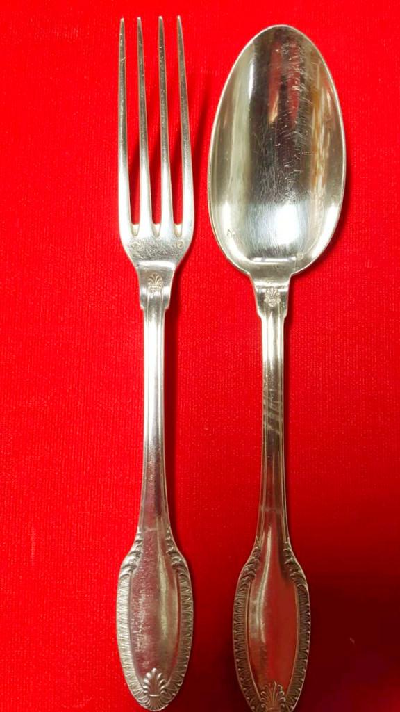 Puiforcat Argenterie : 12 Fourchettes Et 12 Cuillères à Soupe Argent Massif -photo-3