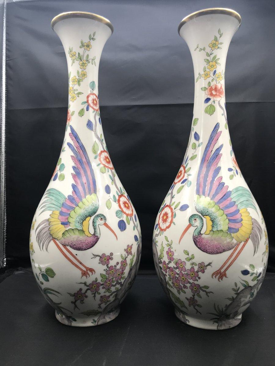 2 Porcelain Vases Signed Limoges Mb - Height 41 Cm -