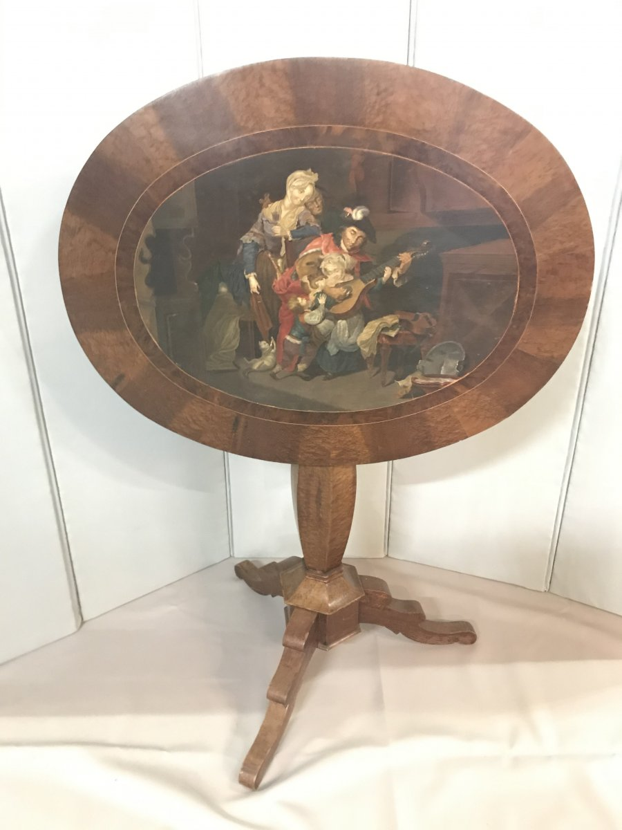 Painting On Biedermeier Pedestal Table Circa 1850- Animated Family Scene In The Style Of The XVII °