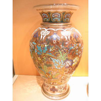 Vase émaillé Signé Jp Imberton Daté 1881 -  30cm