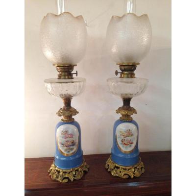 Grande Paire de Lampes Pétrole Verrerie Baccarat-porcelaine Sèvres