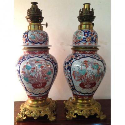 Paire De Lampes à Pétrole Porcelaine Imari H 45cm