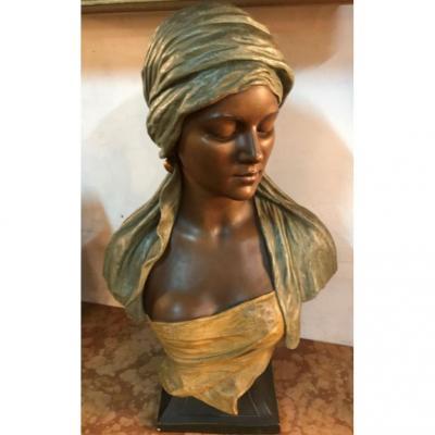 Orientaliste -Buste Jeune Femme Orientale-terre Cuite Goldsheider- H 48cm