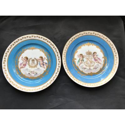 2 Assiettes Porcelaine Sèvres 1844 Château Des Tuileries - Angelot