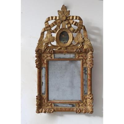 Miroir à Fronton - Régence - Bois Doré XVIII