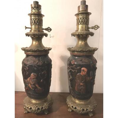Grande Paire De Lampes à Huile XIX° Bronze Et Terre Cuite