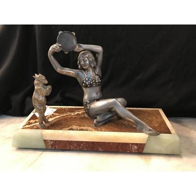 Danseuse En Régule Jouant Du Tambourin, Avec Sa Chèvre En Bronze-art Déco