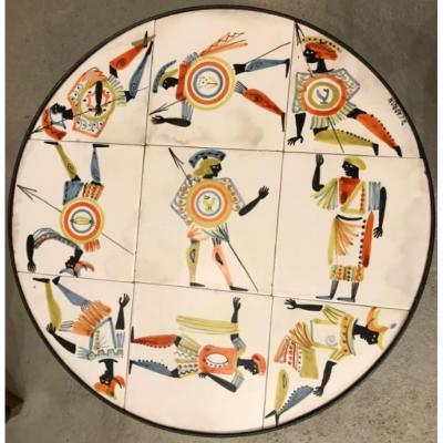 Capron - Table Basse Circulaire Décor De Guerriers Vers 1960