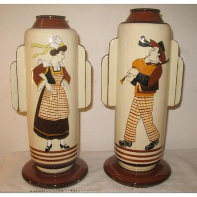 2 Vases Faience Quimper Early Twentieth