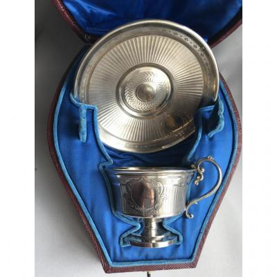 Cup And S / Cup Silver Guilloche Box Of Origin In Shape Mo Doutre Roussel