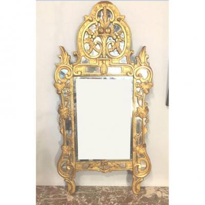 Miroir Provençal à Pare-close XVIII° - Dit De Beaucaire - Bois Doré