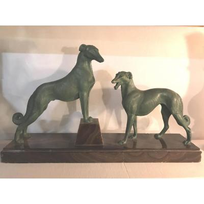Art Deco: 2 Dogs Greyhound Borzoi Alloy Green Patina Base Onyx