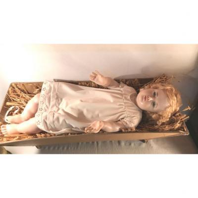 Très Grand Enfant Jésus En Cire 60 Cm - Sur son Lit de Paille