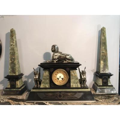 Pendule Art Déco 2 Obélisques Marbre-onyx-bronze Sphinx De Tanis -lions Ailés