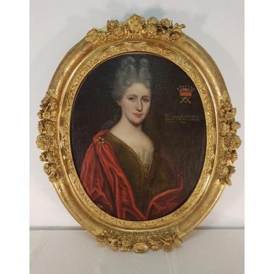 Hst Portrait De La Vicontesse De Cheverlange - XVIII° Dans Cadre Bois Doré  XVIII°