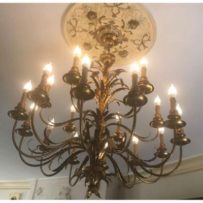 3 Very Large Chandeliers 18 Lights - Year 70-80 - Vintage-deco Metal