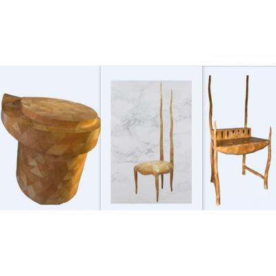 3 Pieces Designers R & Y Augousti London Chair Sylvie + Desk + Stool -marquetry