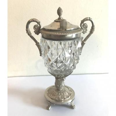 Moutardier Argent - Cristal -  Poinçon Vieillard  1819-1838 -Paris