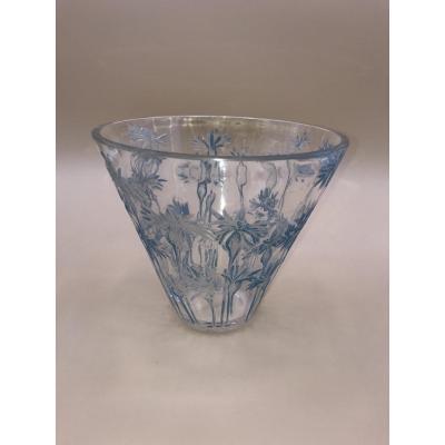 Vase Aux Bleuets - R.lalique du Cachet à l'Acide - Verre Blanc Moulé Pressé