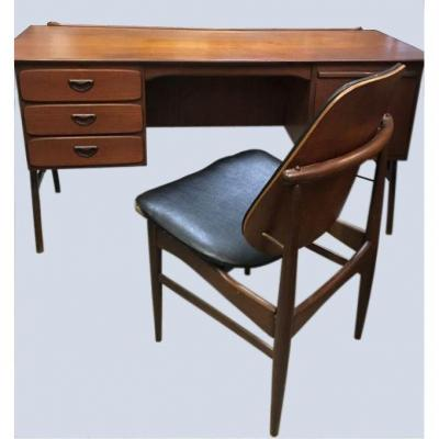 Scandinavian Desk With Its Chair - 1960s - Very Good Condition - Teak And Rosewood