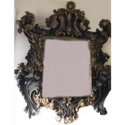 Large Italian Mirror In Golden And Black Tinted Wood - Polychromy - XIX °