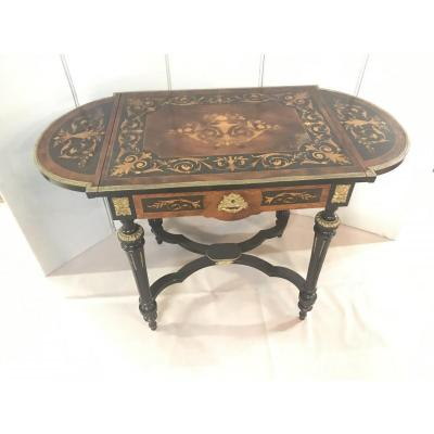 Marquetry Side Table - Napoleon III - Bronze Decoration - 2 Sides Folding