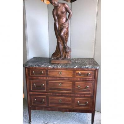 Louis XVI Commode In Marquetry - 18th Century - Gray St Anne Period Marble - Small Model