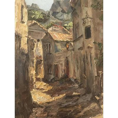 Lucienne Bosquet - Huile Sur Toile - Les Baux De Provence - Rue Trencat