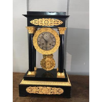 Très Grande Pendule H : 55cm -Napoléon III à 4colonnes -bois Noirci- Bronze Doré