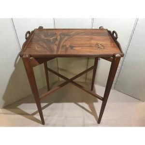 Table à Thé De Gallé  - marqueterie - Décor Iris - Papillon  - Monogrammé