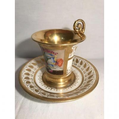 Tasse et s/tasse chocolat forme Jasmin porcelaine FEUILLET
