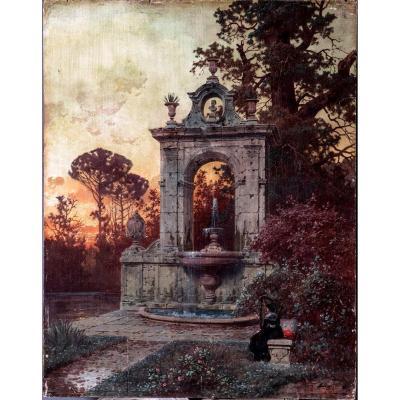 Ferdinand Knab (1837-1902), Paysage Romain Avec Fontaine Et Joueur De Harpe, Signé Et Daté